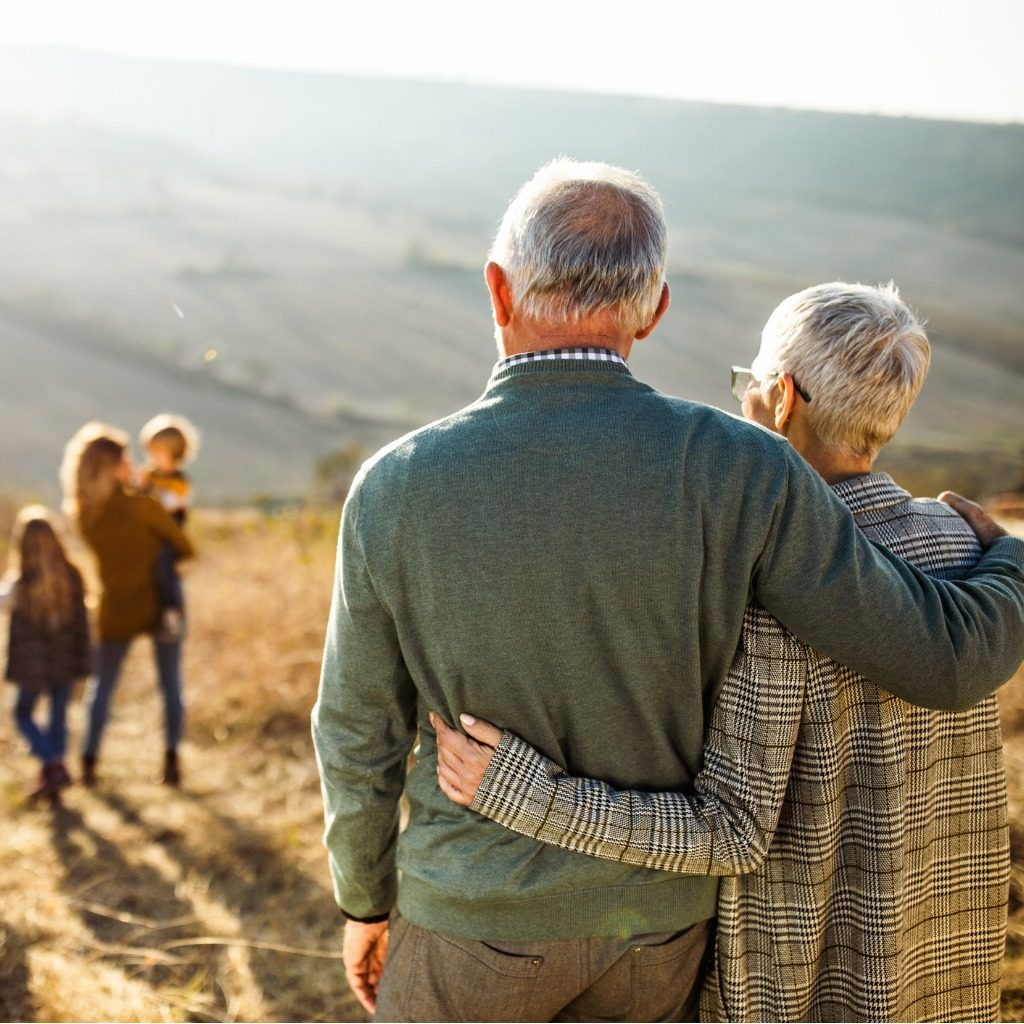 rear view of embraced senior couple looking at their family in nature